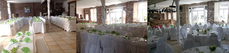 Hochzeitstische im Partyraum des Haus Hülsdonk